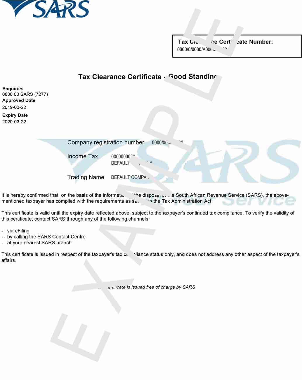Printed Tax Clearance Certificate Terminated