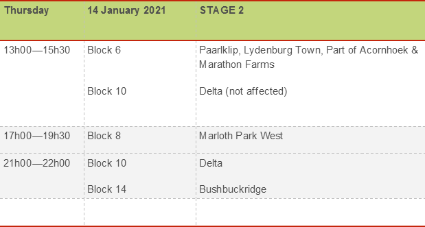 Stage 2 Load shedding from Thursday 14/01/2021 at 12h00 until Sunday 1